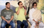 Aamir Khan, Vidhu Vinod Chopra and Amitabh Bachchan during the traier launch of 'Broken Horses' Pic 1