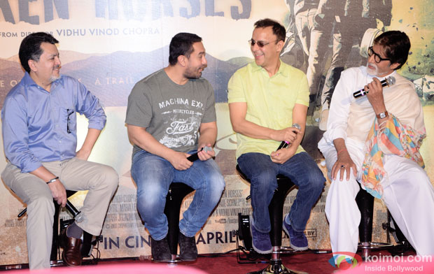 Aamir Khan, Vidhu Vinod Chopra and Amitabh Bachchan during the traier launch of 'Broken Horses' Pic 1