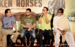 Aamir Khan, Vidhu Vinod Chopra and Amitabh Bachchan during the traier launch of 'Broken Horses' Pic 3
