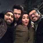 Bosco, Alia Bhatt, Shahid Kapoor with Vikas Bahl cool selfie from the sets of Shaandaar