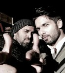 Bosco and Shahid Kapoor on the sets of Shaandaar