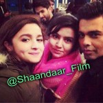Alia Bhatt, Karan Johar and Shahid Kapoor on the sets of Shaandaar