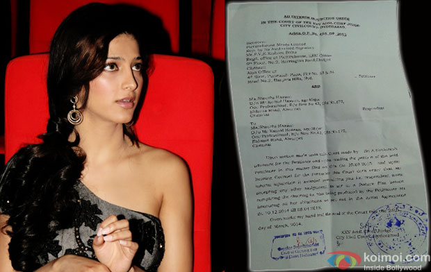 Shruti Hassan and copy of court order