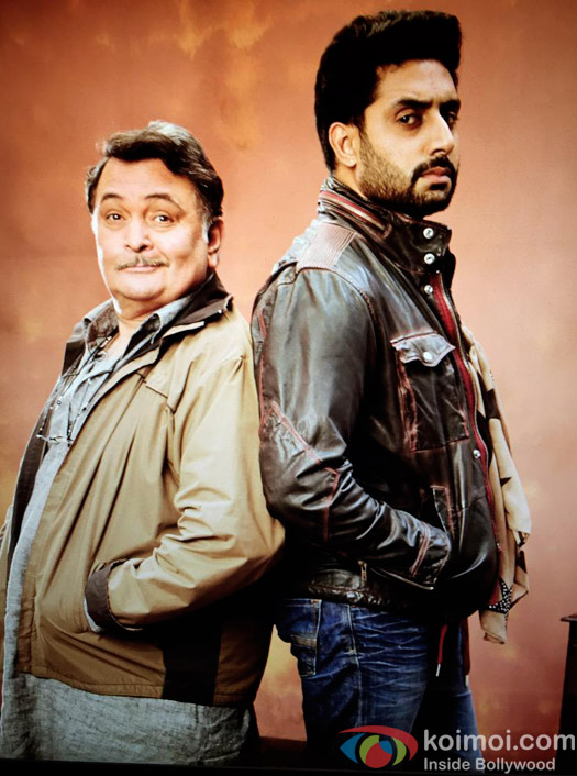 Rishi Kapoor & Abhishek Bachchan in a still from movie All Is Well