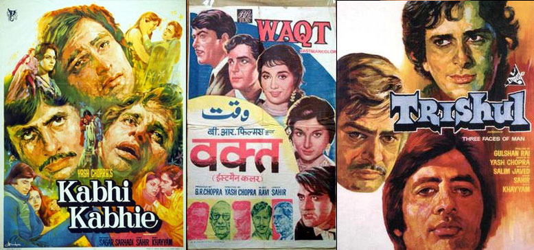 Kabhi Kabhie, Waqt and Trishul Movie Posters