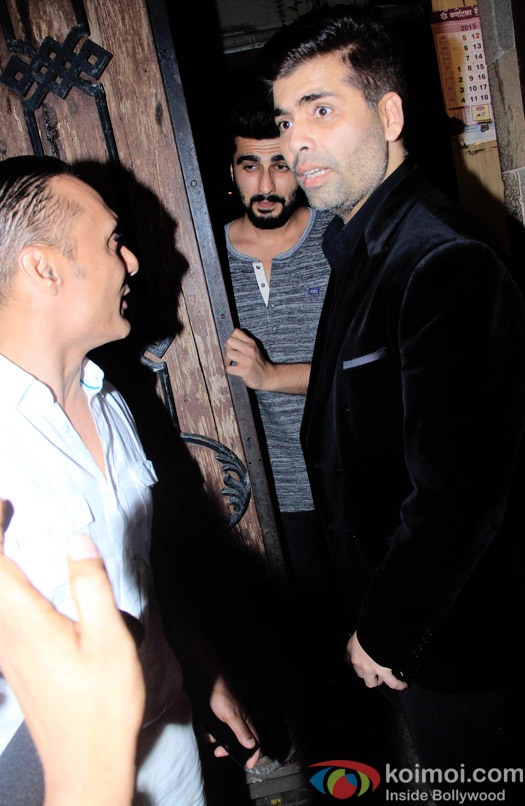 Rahul Bose, Arjun Kapoor and Karan Johar during the Anil Kapoor hosted get together for A trailer Of Dil Dhadakne Do