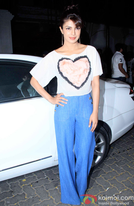 Priyanka Chopra during the Anil Kapoor hosted get together for A trailer Of Dil Dhadakne Do