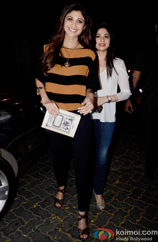 Shilpa Shetty and Shamita Shetty during the Anil Kapoor hosted get together for A trailer Of Dil Dhadakne Do