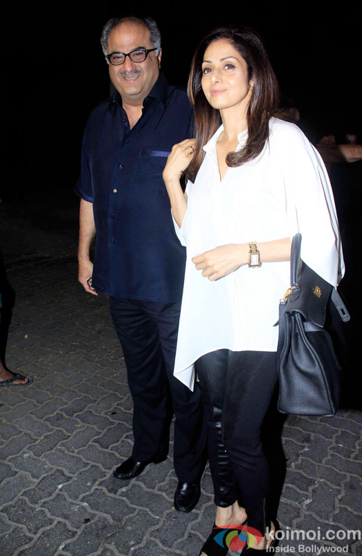 Boney Kapoor and Sridevi during the Anil Kapoor hosted get together for A trailer Of Dil Dhadakne Do