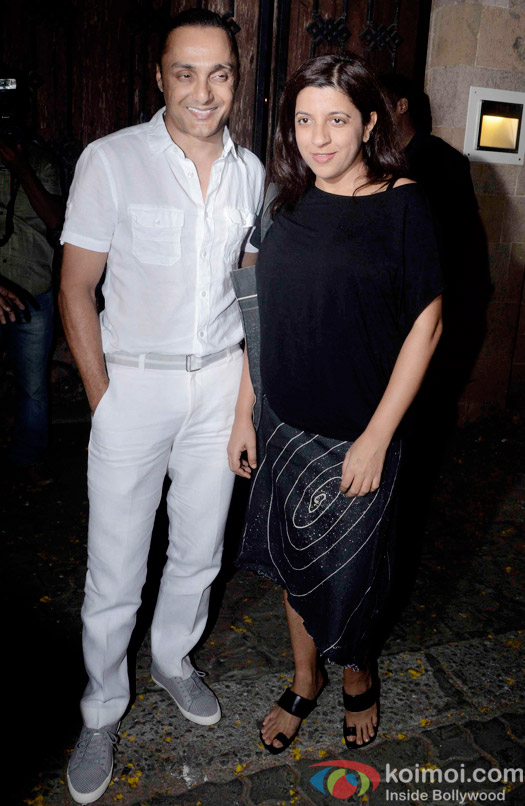Rahul Bose and Zoya Akhtar during the Anil Kapoor hosted get together for A trailer Of Dil Dhadakne Do