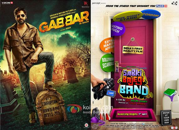 Gabbar Is Back and Sabki Bajegi Band movie posters