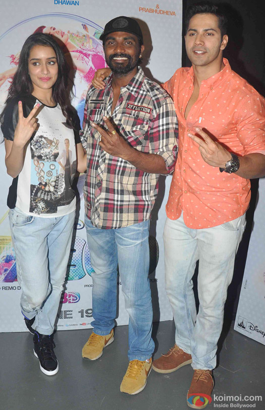 Shraddha Kapoor, Remo D'Souza and Varun Dhawan during the promotion of movie 'ABCD - Any Body Can Dance 2'