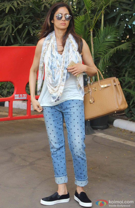 Sridevi Spotted At Domestic Airport