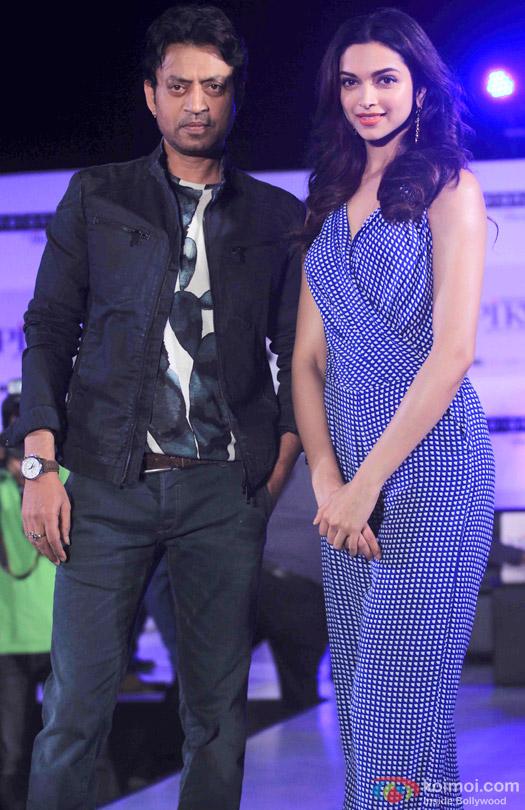 Irrfan Khan and Deepika Padukone during the promotion of movie 'Piku'