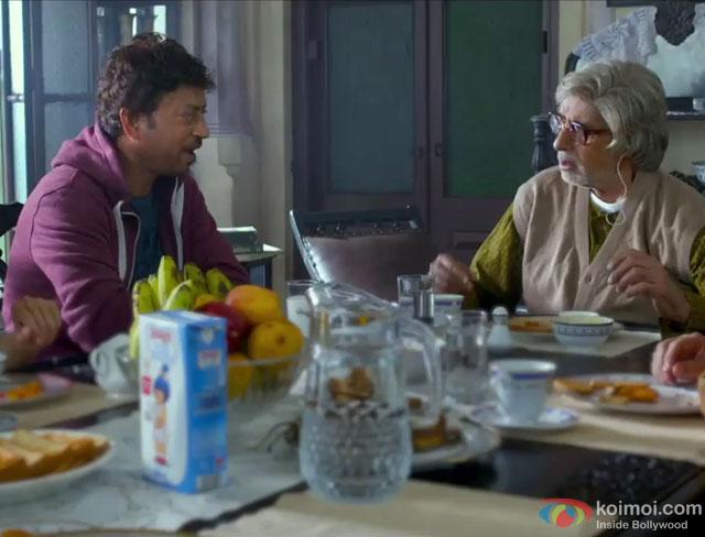 Irrfan Khan and Amitabh Bachchan in a still from movie 'Piku'