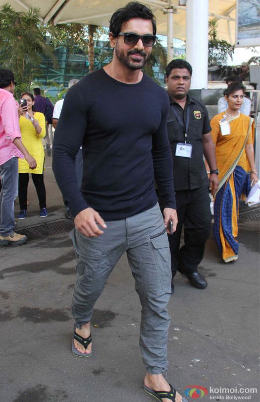 John Abraham Spotted At Domestic Airport