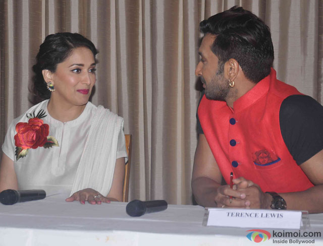 Madhuri Dixit Nene and Terence Lewis during the lauch of Jugnee Dance Festival