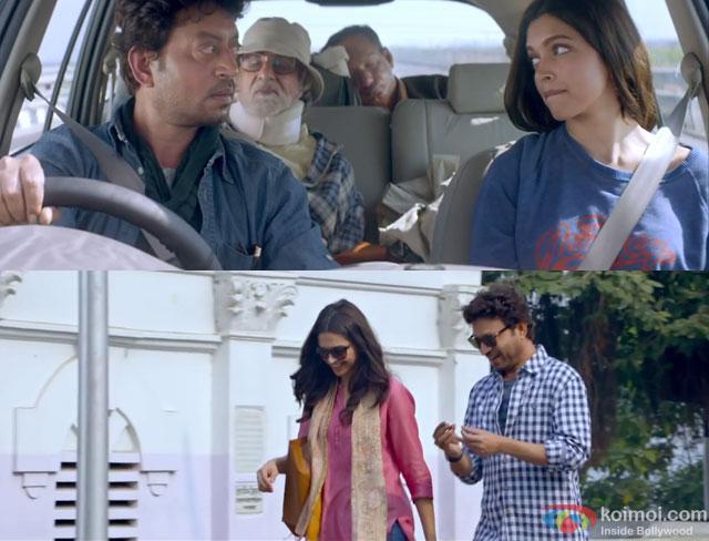 Amitabh Bachchan, Irrfan Khan and Deepika Padukone in a still from movie 'Piku'
