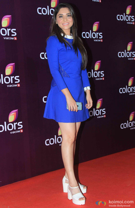 Sonalee Kulkarni during the red carpet of Colors Party 2015