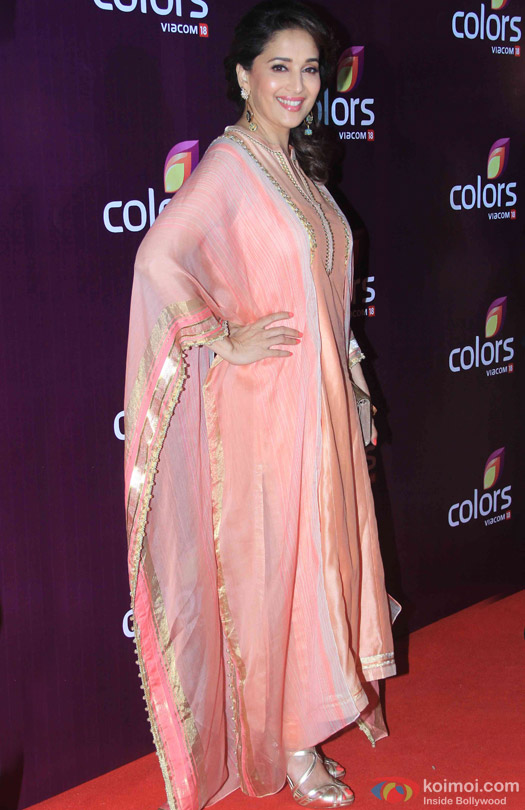 Madhuri Dixit Nene during the red carpet of Colors Party 2015