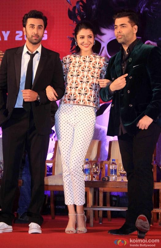 Ranbir Kapoor, Anushka Sharma and Karan Johar during the launch of second trailer of movie 'Bombay Velvet'
