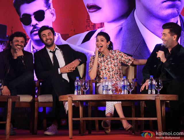 Vikas Bahl, Ranbir Kapoor, Anushka Sharma and Karan Johar during the launch of second trailer of movie 'Bombay Velvet'