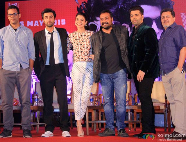 Vikramaditya Motwane, Ranbir Kapoor, Anushka Sharma, Anurag Kashyap, Karan Johar and Vijay Singh during the launch of second trailer of movie 'Bombay Velvet'