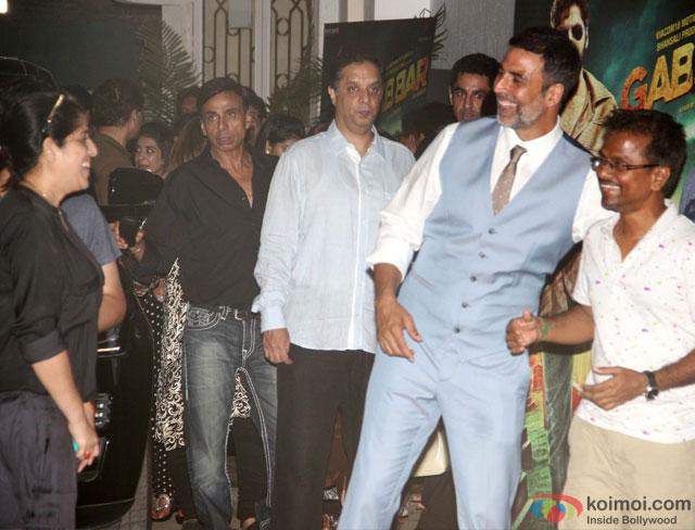 Akshay Kumar and AR Murugadoss at special screening of movie 'Gabbar Is Back'