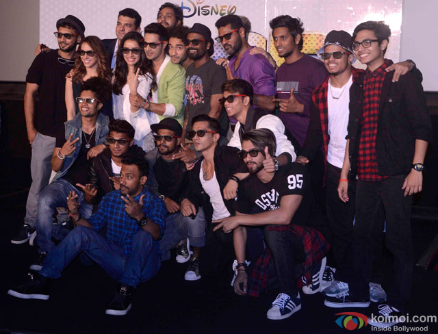 Siddharth Roy Kapur, Shraddha Kapoor, Varun Dhawan, Remo D'Souza and Prabhu Dheva during the trailer launch of movie 'ABCD – Any Body Can Dance 2'