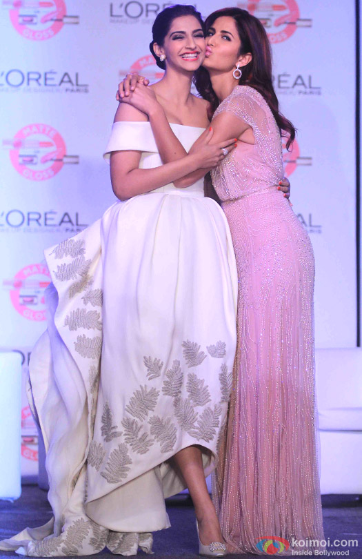 Sonam Kapoor and Katrina Kaif during the launch of new cannes collection of L'oreal Paris