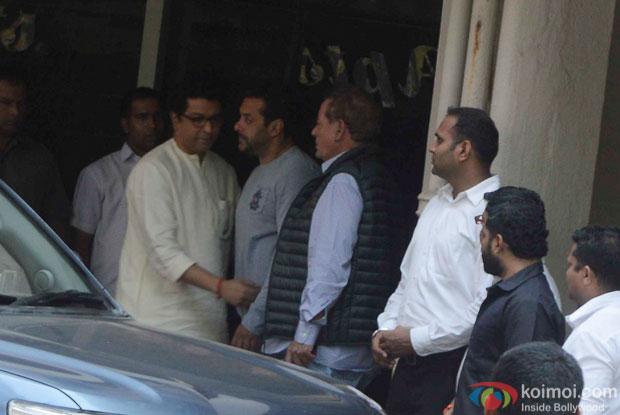 Raj Thackeray Visit Salman Khan At Galaxy Apartments