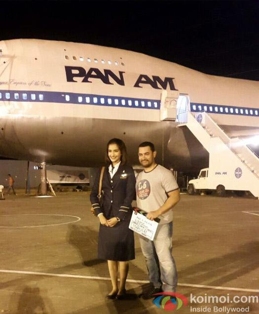 Aamir Khan visits Sonam Kapoor on the sets of Neerja