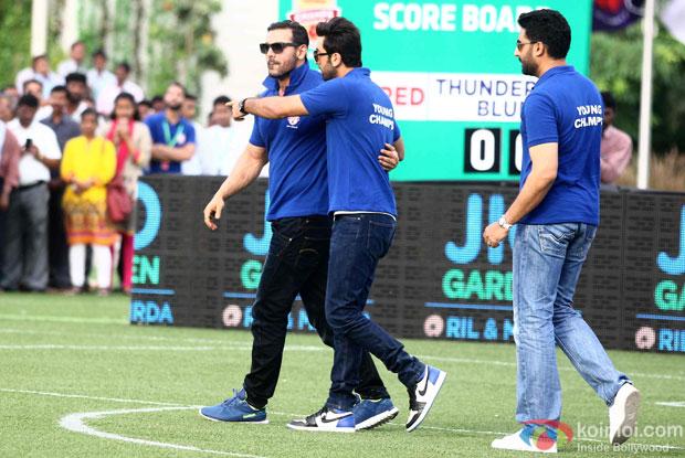 John Abraham, Ranbir Kapoor and Abhishek Bachchan during the inauguration of JIO Garden
