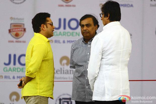 Sachin Tendulkar, Mukesh Ambani and Amitabh Bachchan during the inauguration of JIO Garden