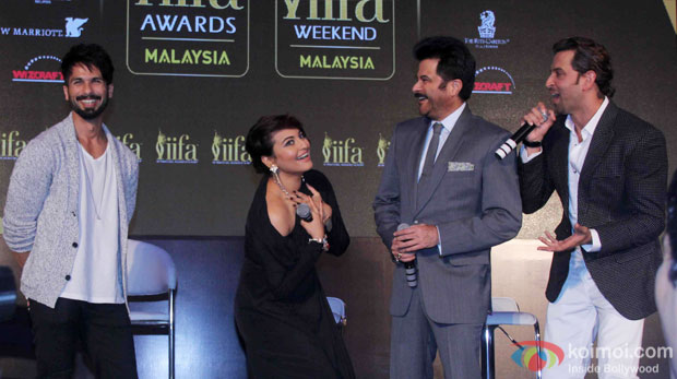 Shahid Kapoor, Sonakshi Sinha, Anil Kapoor and Hrithik Roshan during the announcement of the 16th IIFA Weekend and Awards