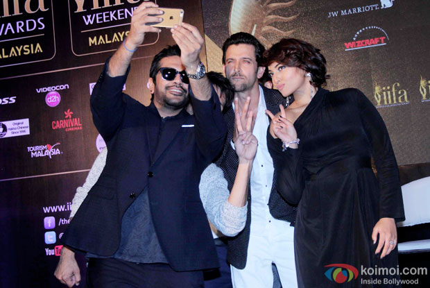 Rocky S, Shahid Kapoor, Hrithik Roshan and Sonakshi Sinha during the announcement of the 16th IIFA Weekend and Awards