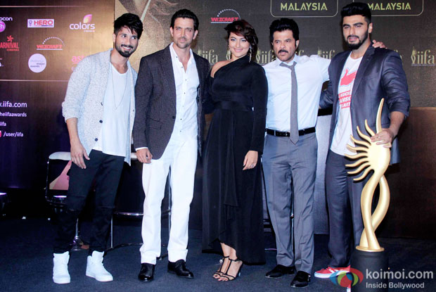Shahid Kapoor, Hrithik Roshan, Sonakshi Sinha, Anil Kapoor and Arjun Kapoor during the announcement of the 16th IIFA Weekend and Awards