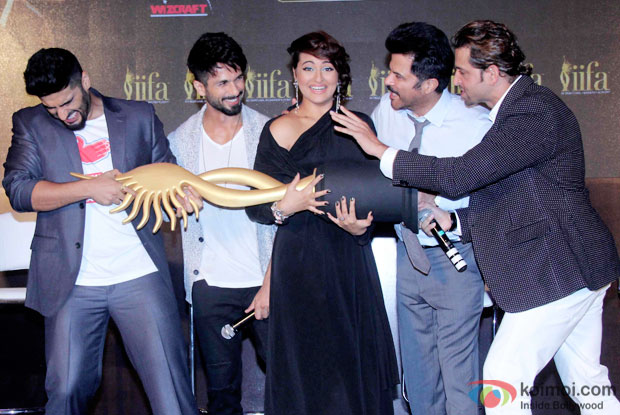 Arjun Kapoor, Shahid Kapoor, Sonakshi Sinha, Anil Kapoor and Hrithik Roshan during the announcement of the 16th IIFA Weekend and Awards