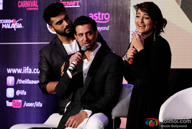 Arjun Kapoor, Hrithik Roshan and Sonakshi Sinha during the announcement of the 16th IIFA Weekend and Awards