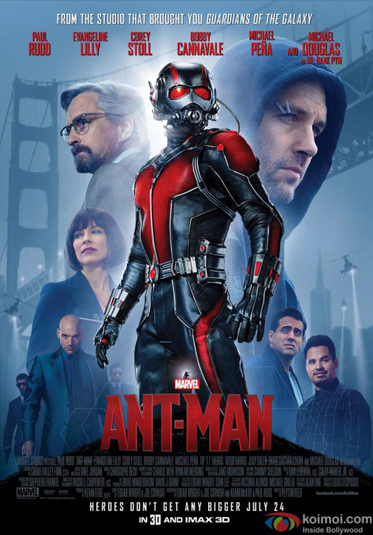 Paul Rudd, Evangeline Lilly, Michael Douglas, Michael Pena, Corey Stoll, Bobby Cannavale starrer 'Ant-Man' movie poster
