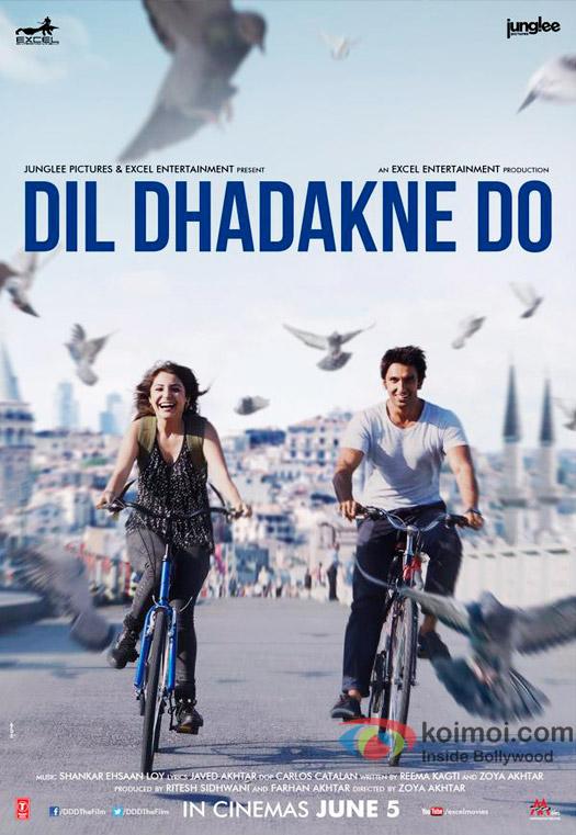 Anushka Sharma and Ranveer Singh in a 'Dil Dhadakne Do' movie poster
