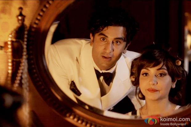 Ranbir Kapoor and Anushka Sharma in a still from movie 'Bombay Velvet'