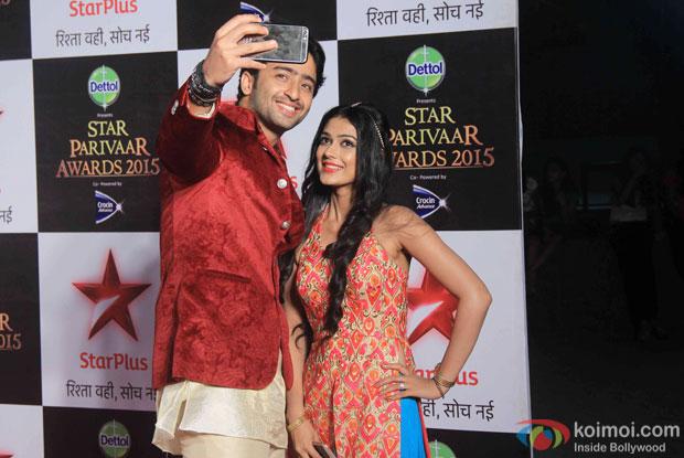 Shaheer Sheikh and Aakanksha Singh during the Star Parivaar Awards 2015