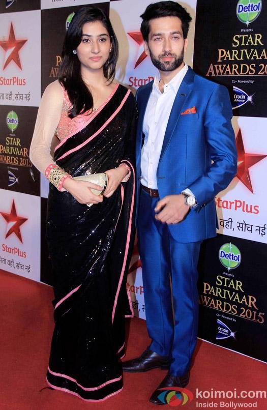 Disha Parmar  and Nakuul Mehta during the Star Parivaar Awards 2015