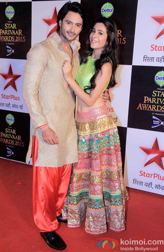 Dhruv Bhandari and Hiba Nawab during the Star Parivaar Awards 2015