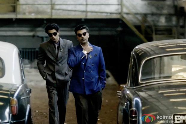 Ranbir Kapoor and Karan Johar in a still from movie 'Bombay Velvet'