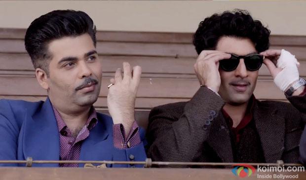 Karan Johar  and Ranbir Kapoor in a still from movie 'Bombay Velvet'
