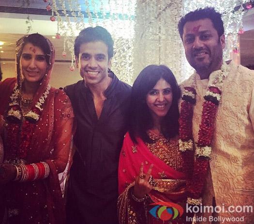 Tushar Kapoor and Ekta Kapoor attend the Wedding of Abhishek Kapoor and Pragya Yadav