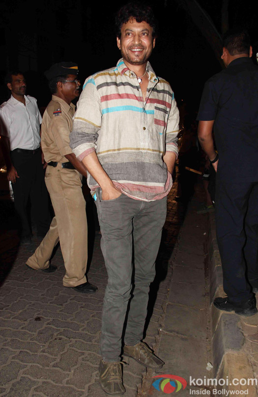 Irrfan Khan at the party hosted by Deepika padukone for the succes of movie Piku