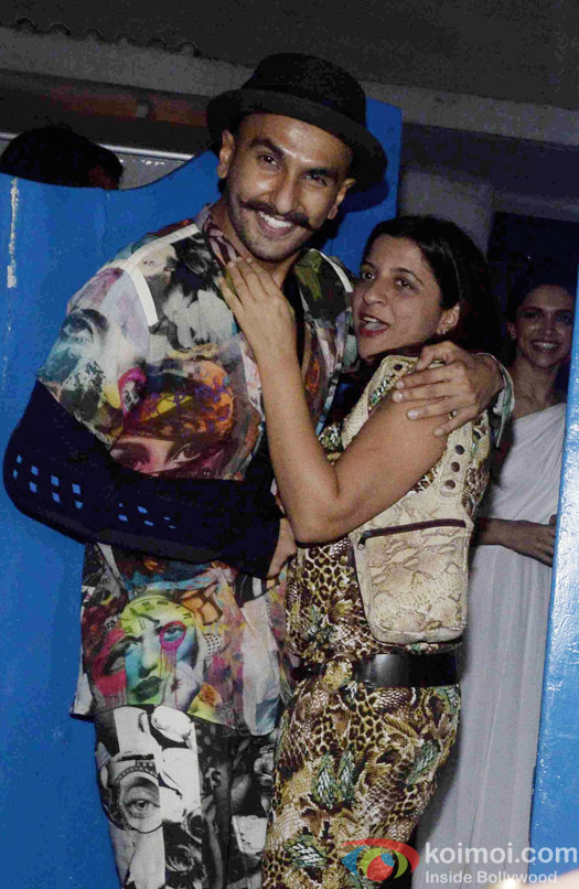 Ranveer Singh and Zoya Akhtar at the party hosted by Deepika padukone for the succes of movie Piku